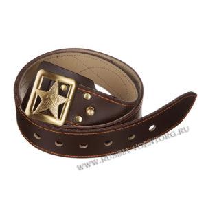 Ремень генеральский кожаный коричневый со штампованной пряжкой звезда СА