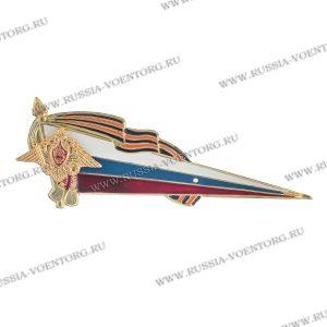 Флаг-уголок на берет металлический большой РА (флаг РФ с орлом РА,георгиевская лента)